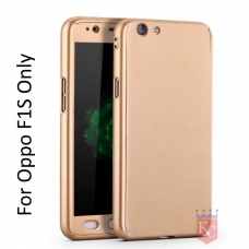 3 In 1 Ultra Thin Hard Coated Matte Surface Back Cover for Oppo F1S -  Gold